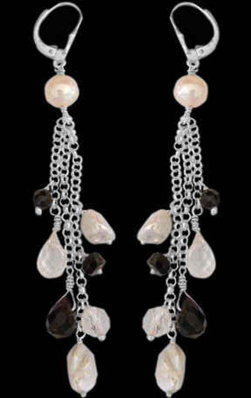 Bridesmaids Jewelry - Onyx Crystal Pearl and Sterling Silver Earrings E1156