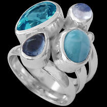 Topaz Larimar Rainbow Moonstone Kyranite and Sterling Silver Ring MR-1112T