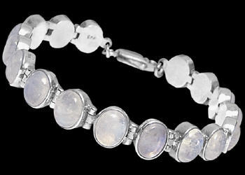 Rainbow Moonstone and Sterling Silver Bracelets B1a