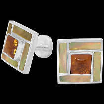 Father's Day Jewelry Gift - Amber Brown Mother of Pearl and .925 Sterling Silver Cuff Links AZ508