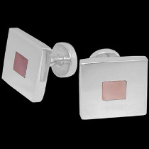 Father's Day Jewelry Gift - Mother of Pearl and .925 Sterling Silver Cuff links AZ501