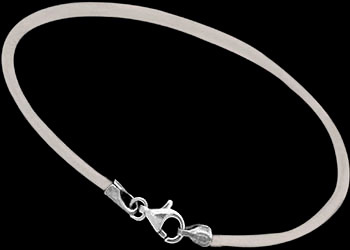 White Leather and Sterling Silver Bracelets LB116