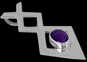 Gemstone Pendants - Amethyst and Sterling Silver Pendants MP010amy