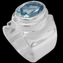 Men's Jewelry - Topaz and .925 Sterling Silver Rings MR026tp