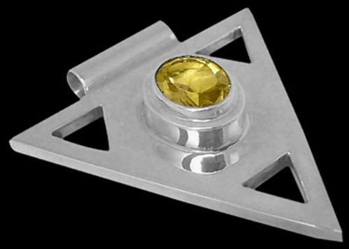 Anniversary Jewelry Gift - Citrine and Sterling Silver Triangle Pendant MP097cit