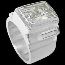 Men's Jewelry - Cubic Zirconia and .925 Sterling Silver Rings MR20B - Polish Finish