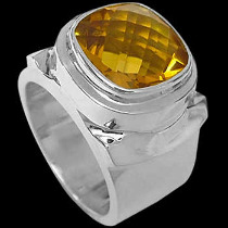 Men's Jewelry - Citrine and .925 Sterling Silver Rings MR20-2cit - Polish Finish