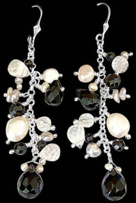 Bridesmaids Jewelry - Onyx Pearl Quartz Crystal and Sterling Silver Earrings E1147