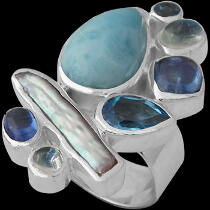 White Pearl Larimar Rainbow Moonstone Topaz Kyanite and Sterling Silver Ring R-1264LAR
