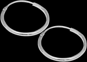 Silver Jewelry - .925 Sterling Silver Earrings - Hoop Earrings E2250