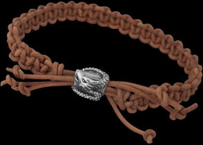 .925 Sterling Silver Dragon Beads and Light Brown Leather Bracelets - Dragon Beads ANIXI12a