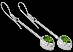 Peridot and .925 Sterling Silver Earrings E380