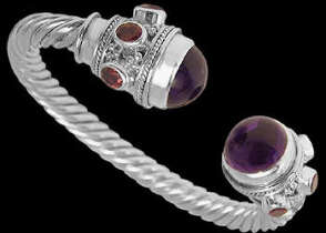 Celtic Jewelry - Amethyst Garnet and .925 Sterling Silver Cable  Bracelets B500