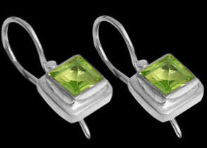 Peridot and .925 Sterling Silver Earrings E387