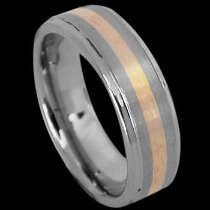 Engagement Jewelry Gift - Gold Inlay and Tungsten Rings TU121G