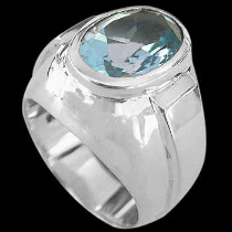 Engagement Jewelry Gift - Blue Topaz and Sterling Silver Ring R977