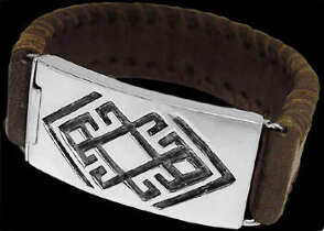 Graduation Jewelry Gift - Genuine Brown Leather and Sterling Silver Bracelets BR1241B