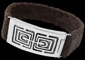 Graduation Jewelry Gift - Genuine Brown Leather and Sterling Silver Bracelets BR1242B