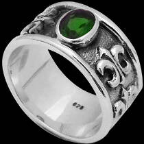 Men's Jewelry - Emerald Cubic Zirconia  and .925 Sterling Silver Fluer De Lis Rings R277