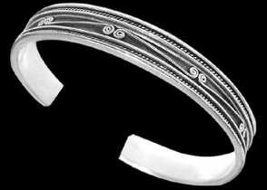 Celtic Jewelry - .925 Sterling Silver Celtic Spiral Cuff Bracelets B4-10098b - 10mm