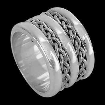Celtic Jewelry - .925 Sterling Silver Rings R1-10251 - Dual Weave Ridge Ring