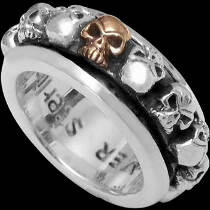 Spinning Rings - .925 Sterling Silver and 14K Gold Flaming Skull Rings R189Gold