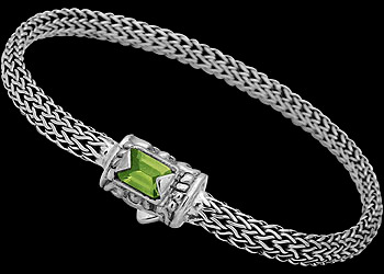Silver Jewelry - Peridot and Sterling Silver Bracelets B1802Pr