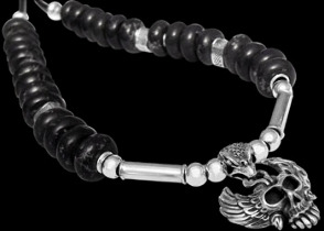 Black-Beads .925 Sterling Silver Beads and Black Leather Necklaces - Skull Silver Pendant BN333