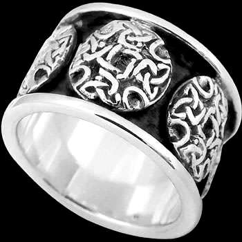 Religious Jewelry - .925 Sterling Silver Rings - Celtic  Triquetra Knott Cross Bands CR201