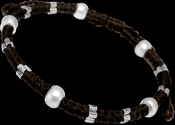 .925 Silver Jewelry - Sterling Silver Beads with Brown Cotton Cord Bracelets B1146br by Kinnaree Designs