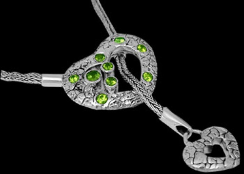 Bridal Gifts -  Peridot and Sterling Silver Necklaces N2311Pe