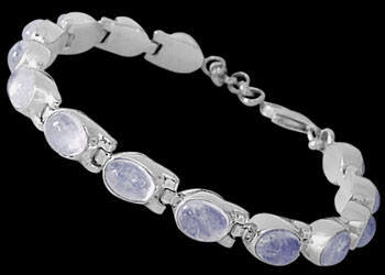 Bridal Jewelry - Rainbow Moonstone and Sterling Silver Bracelets B5