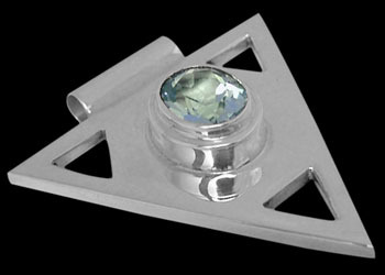 Anniversary Jewelry Gift - Sky Blue Topaz and Sterling Silver Triangle Pendant MP097sky