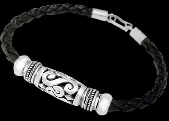 Black Synthetic Leather and .925 Sterling Silver Bracelets B622 - 5mm
