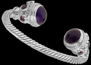 Celtic Jewelry - Amethyst and .925 Sterling Silver Cable  Bracelets B500