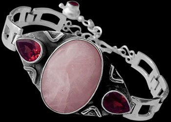 Rose Quartz Garnet and Sterling Silver Bracelet MBB01rqga