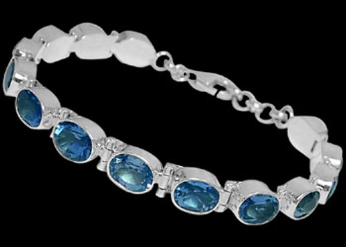 Bridal Jewelry - Topaz and Sterling Silver Bracelets B5