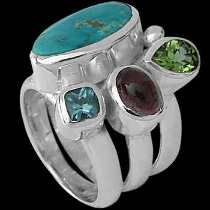 Anniversary Jewelry Gift - Turquoise Pink Tourmaline Peridot Topaz and Sterling Silver Ring MR-1112