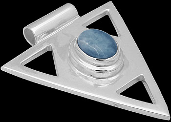 Gemstone Pendants - Larimar and Sterling Silver Triangle Pendant MP097lar
