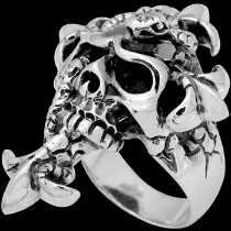 Gothic Rings - .925 Sterling Silver Snake and Skull Rings R354