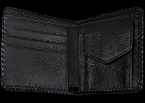 Leather Wallets - Black Cross Stingray Leather Wallet  LW142