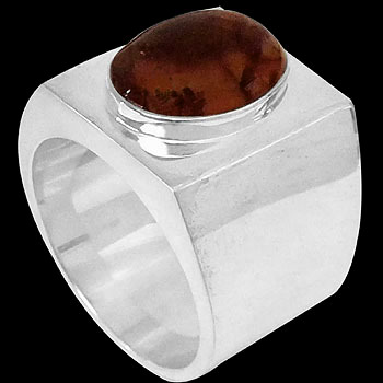 Gangster Jewelry - Sterling Silver and Amber Ring R-200-Bcit