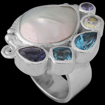 White Pearl Iolite Topaz and Sterling Silver Ring R-899TPZ