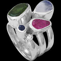Green Tourmaline Pink Tourmaline Rainbow Moonstone Topaz and Sterling Silver Ring MR-1112pkt