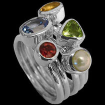 Assorted Gemstones and Sterling Silver Rings R548pr