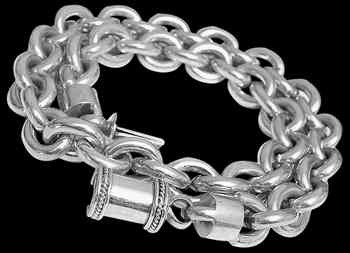 Mens Jewellery - .925 Sterling Silver Link Necklaces N330B - 9mm - Barrel Clasp
