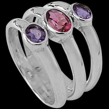 Iolite Pink Topaz and Sterling Silver Ring R-046