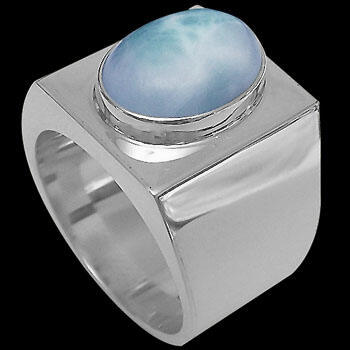 .925 Silver Jewelry - Larimar and Sterling Silver Ring R-200lar