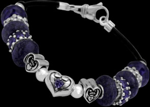 Leather Bracelets - Purple Beads Purple Cubic Zirconias and .925 Sterling Silver Beads and Leather bracelet PB910