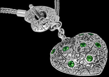 Valentines Day Jewelry Gift - Green Quartz and .925 Sterling Silver Necklaces N1512Gq